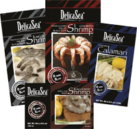 DelicaSea(R) offers a full line of cooked and uncooked frozen shrimp, and cleaned squid products for foodservice and retail operators.