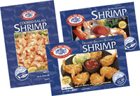 Legal Sea Foods, a new brand for retail, consists of Jumbo Cocktail Shrimp, Cooked Salad Shrimp, and Breaded Shrimp.